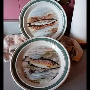 TWO dinner plates by AJ Lydon collection